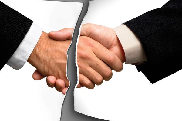 Разорвать договорные отношения